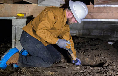 Crawl Space Jack Post: prepare the ground basis