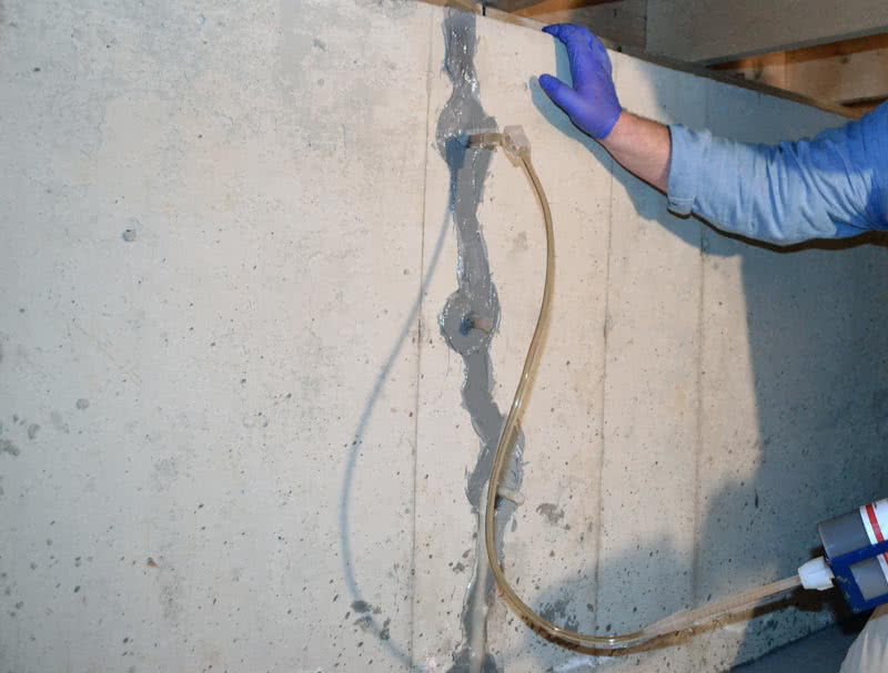 The foundation crack repair is easy and quick when using the polyurethane foam injection.