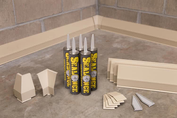 SealOnce Basement System is a great basement waterproofing product that allows you to seal in the joint where the floor and the walls meet.