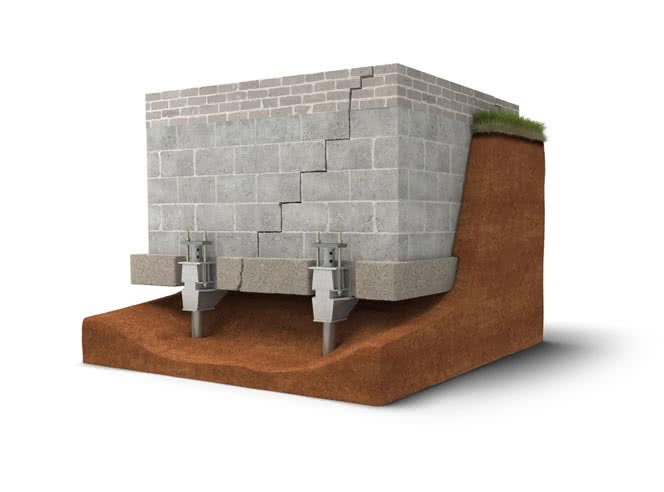 The steel foundation push piers are designed to support heavy constructions, unlike the hydraulic piers that can support the lighter houses.